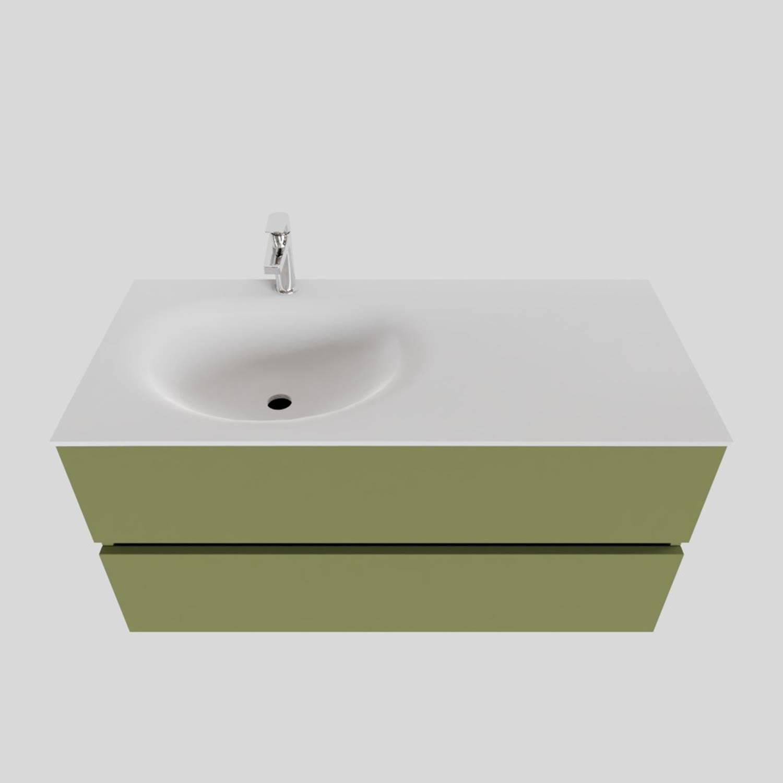 Badkamermeubel Solid Surface BWS Stockholm 100x46 cm Links Mat Groen (met 1 kraangat) kopen met korting doe je hier