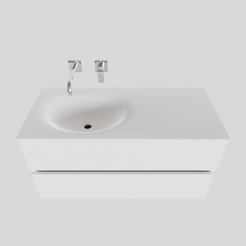 Badkamermeubel Solid Surface BWS Stockholm 100x46 cm Links Mat Wit (zonder kraangat) kopen met korting doe je hier