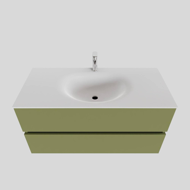 Badkamermeubel Solid Surface BWS Stockholm 100x46 cm Midden Mat Groen (met 1 kraangat) kopen met korting doe je hier