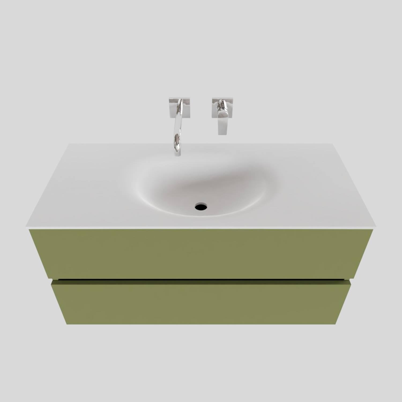 Badkamermeubel Solid Surface BWS Stockholm 100x46 cm Midden Mat Groen (zonder kraangat) kopen met korting doe je hier