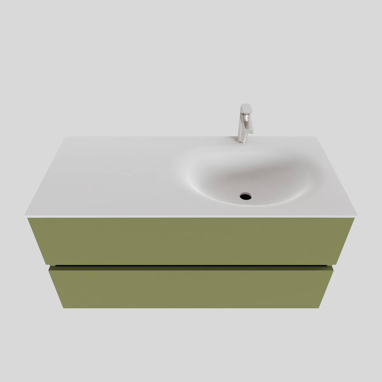 Badkamermeubel Solid Surface BWS Stockholm 100x46 cm Rechts Mat Groen (met 1 kraangat) kopen met korting doe je hier