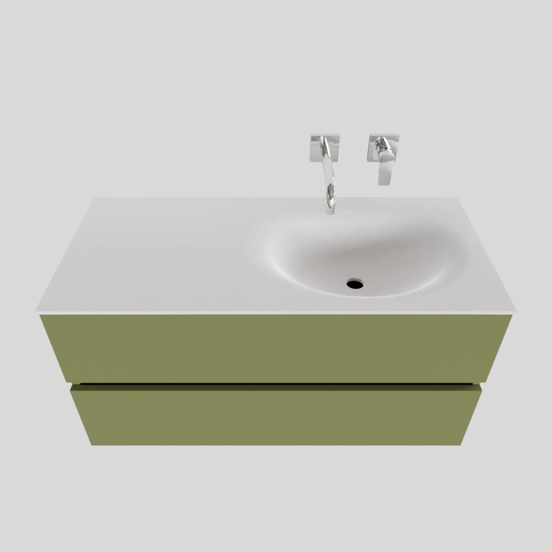 Badkamermeubel Solid Surface BWS Stockholm 100x46 cm Rechts Mat Groen (zonder kraangat) kopen met korting doe je hier