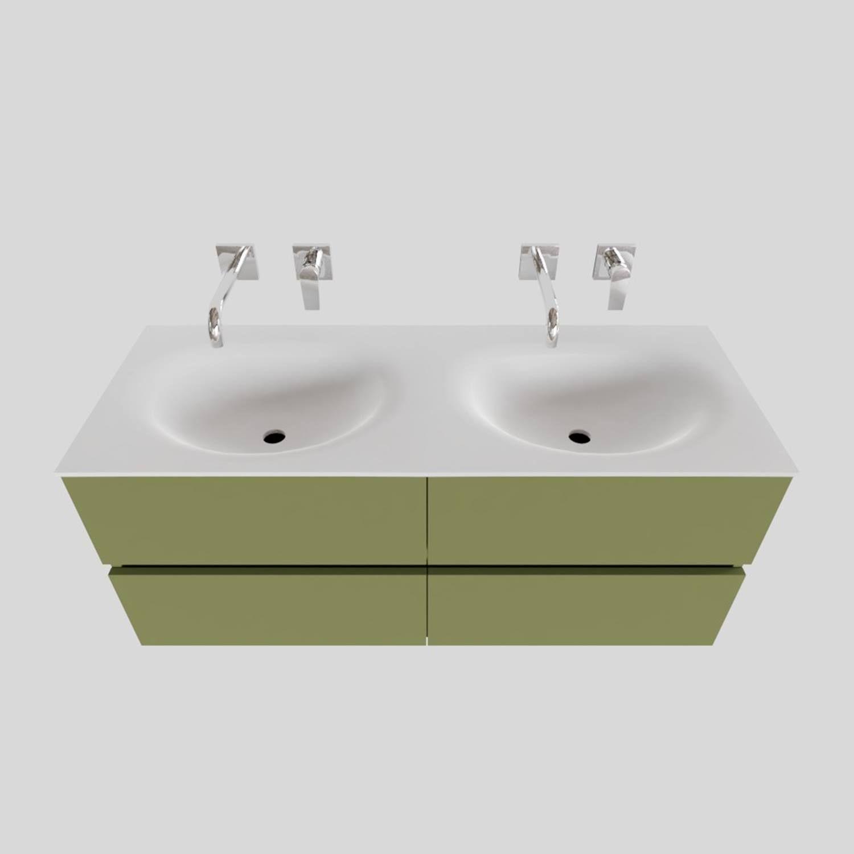 Badkamermeubel Solid Surface BWS Stockholm 120x46 cm Dubbel Mat Groen 4 Laden (zonder kraangaten) voordeel