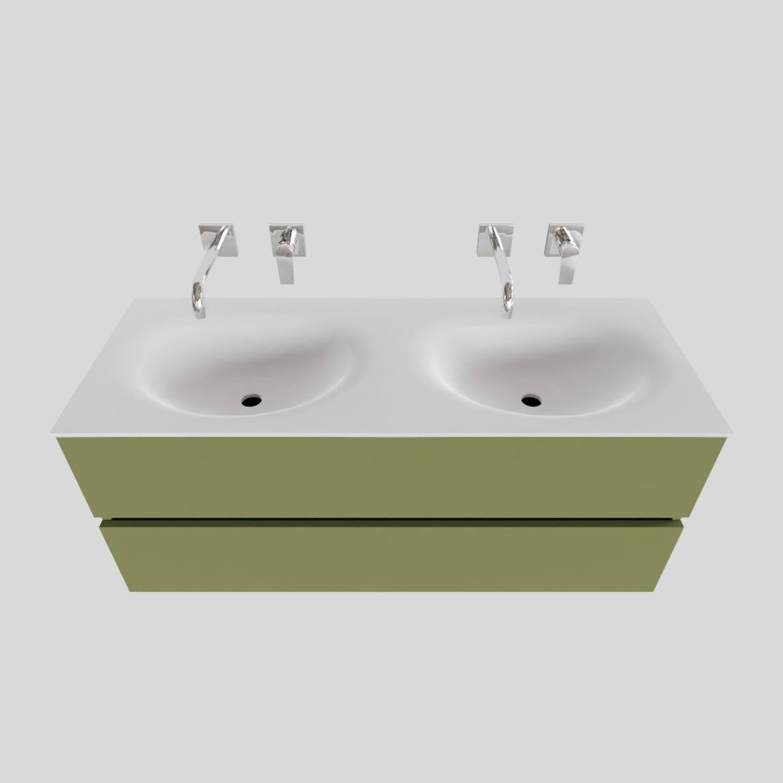 Badkamermeubel Solid Surface BWS Stockholm 120x46 cm Dubbel Mat Groen (zonder kraangaten) voordeel