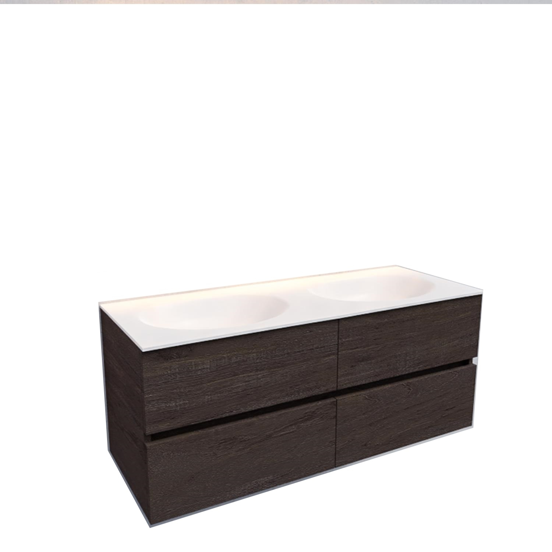 Badkamermeubel Solid Surface BWS Stockholm 120x46 cm Dubbel Wood Dark Brown 4 Laden (0 kraangaten)