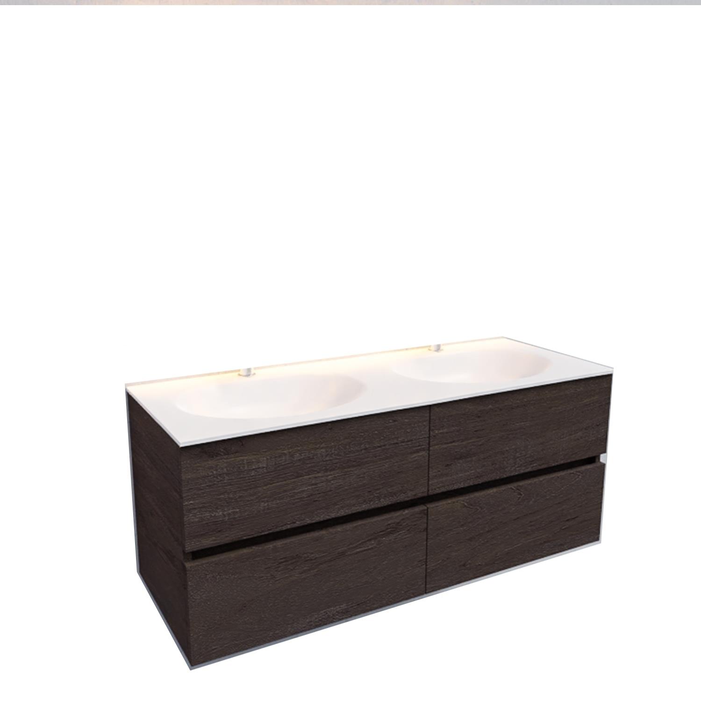 Badkamermeubel Solid Surface BWS Stockholm 120x46 cm Dubbel Wood Dark Brown 4 Laden (2 kraangaten)