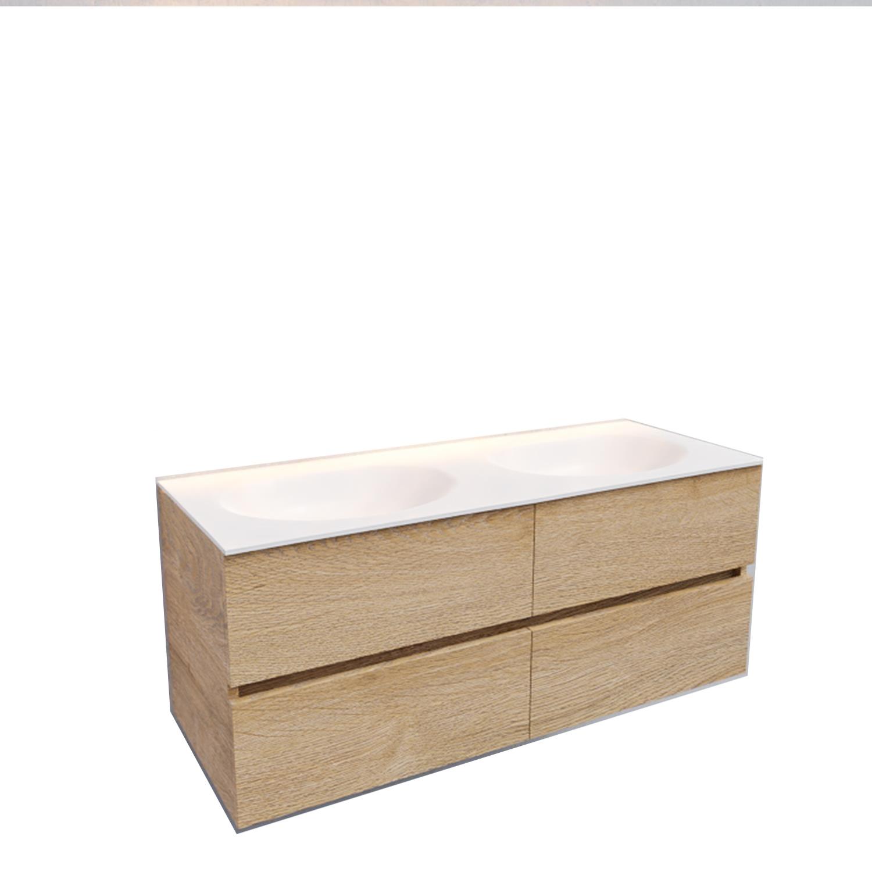 Badkamermeubel Solid Surface BWS Stockholm 120x46 cm Dubbel Wood Washed Oak 4 Laden (0 kraangaten)