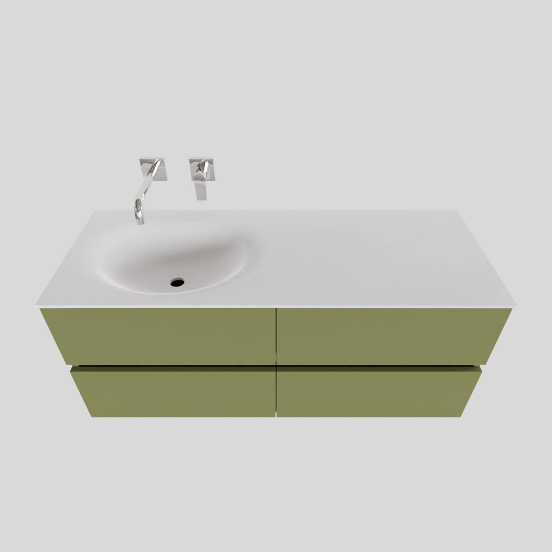 Badkamermeubel Solid Surface BWS Stockholm 120x46 cm Links Mat Groen 4 Laden (zonder kraangaten) kopen met korting doe je hier
