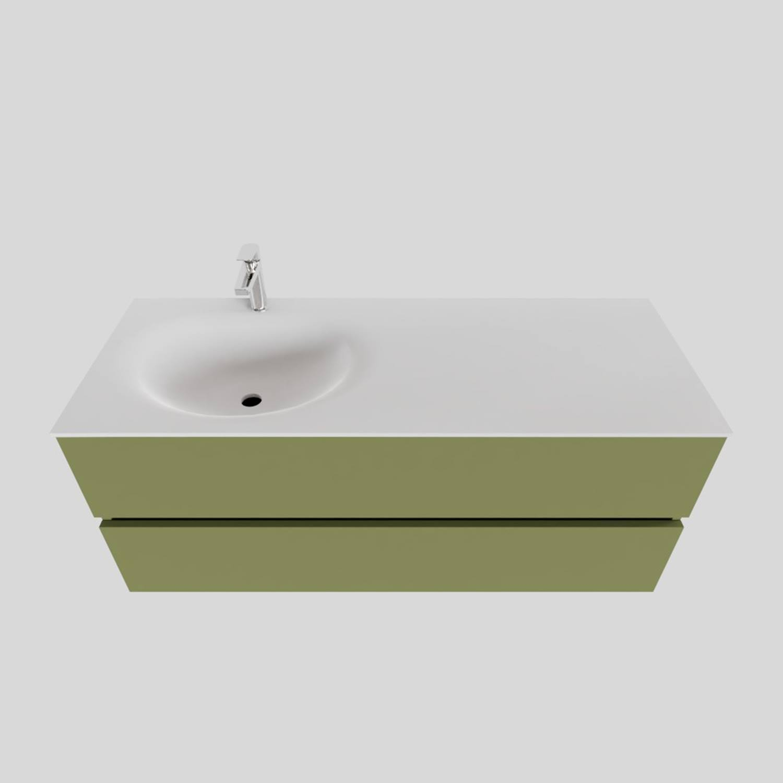 Badkamermeubel Solid Surface BWS Stockholm 120x46 cm Links Mat Groen (met 1 kraangat) kopen met korting doe je hier