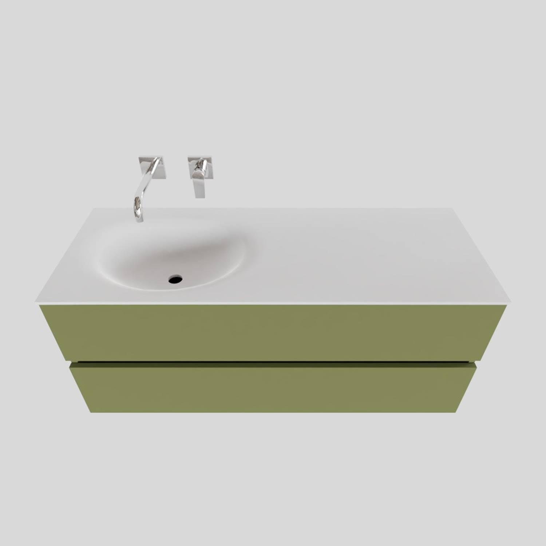 Wastafelmeubels van Boss & Wessing kopen? Badkamermeubel Solid Surface BWS Stockholm 120x46 cm Links Mat Groen (zonder kraangat) voor de Badkamermeubels met korting