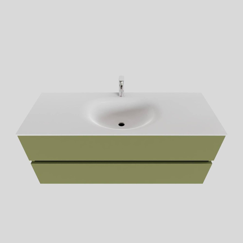 Wastafelmeubels van Boss & Wessing kopen? Badkamermeubel Solid Surface BWS Stockholm 120x46 cm Midden Mat Groen (met 1 kraangat) voor de Badkamermeubels met korting