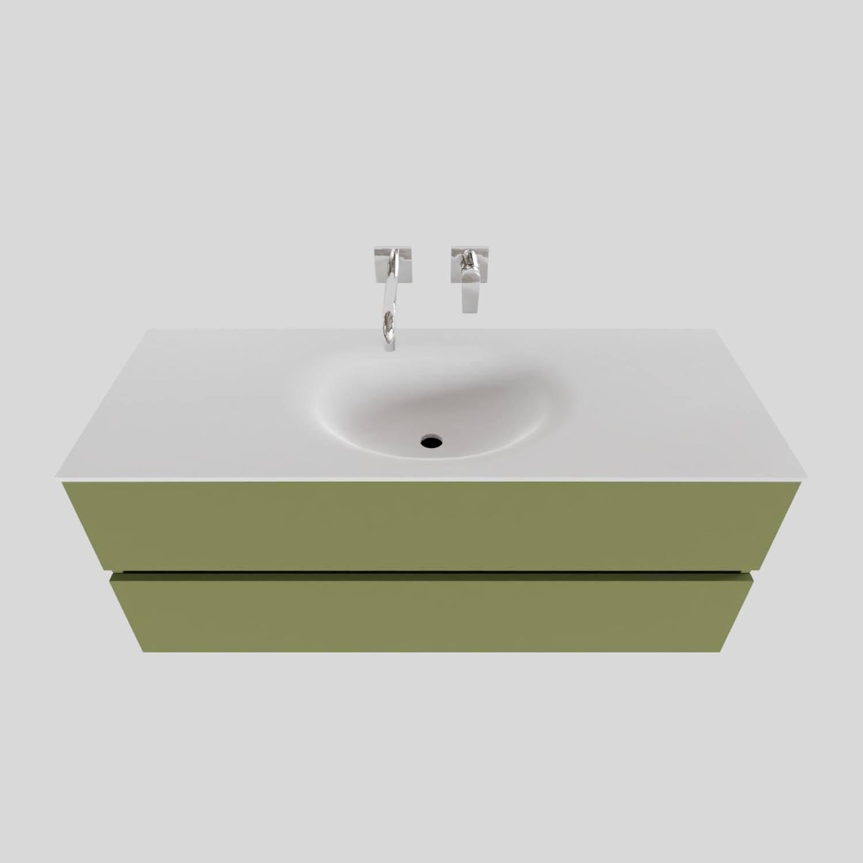 Wastafelmeubels van Boss & Wessing kopen? Badkamermeubel Solid Surface BWS Stockholm 120x46 cm Midden Mat Groen (zonder kraangat) voor de Badkamermeubels met korting