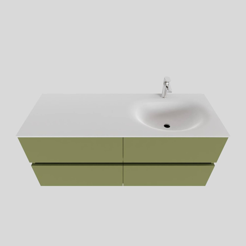 Badkamermeubel Solid Surface BWS Stockholm 120x46 cm Rechts Mat Groen 4 Laden (met 1 kraangat) voordeel