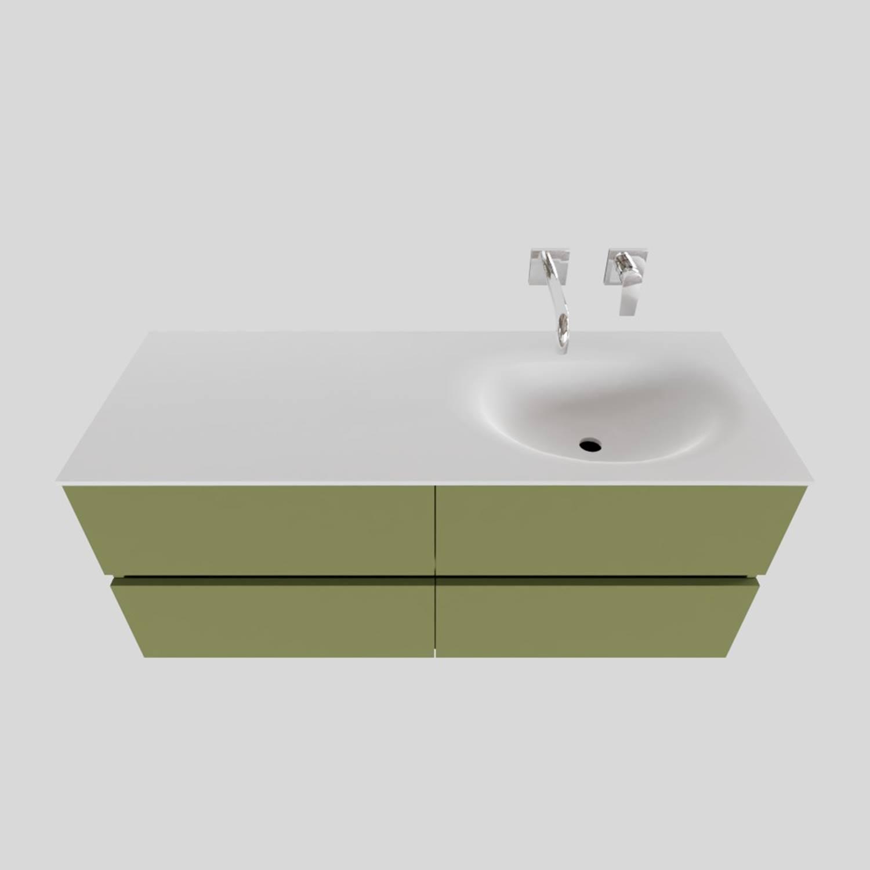 Badkamermeubel Solid Surface BWS Stockholm 120x46 cm Rechts Mat Groen 4 Laden (zonder kraangaten) voordeel