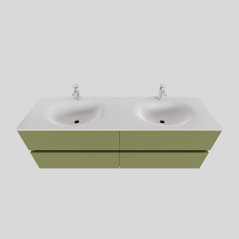 Badkamermeubel Solid Surface BWS Stockholm 150x46 cm Dubbel Mat Groen 4 Laden (met 2 kraangaten)