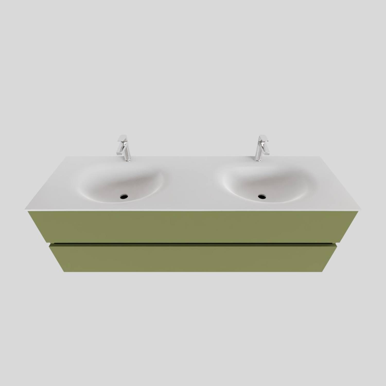 Badkamermeubel Solid Surface BWS Stockholm 150x46 cm Dubbel Mat Groen (met 2 kraangaten) voordeel