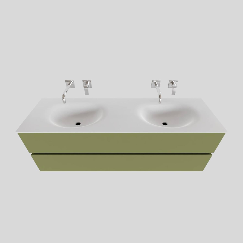 Badkamermeubel Solid Surface BWS Stockholm 150x46 cm Dubbel Mat Groen (zonder kraangaten) voordeel