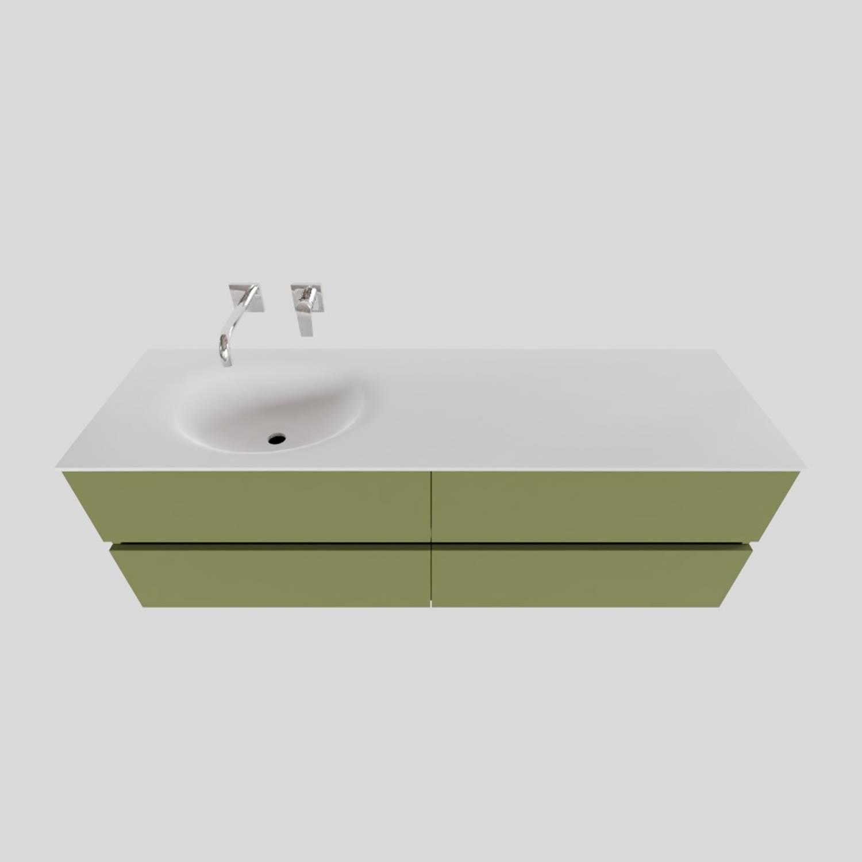 Badkamermeubel Solid Surface BWS Stockholm 150x46 cm Links Mat Groen 4 Laden (zonder kraangaten) voordeel