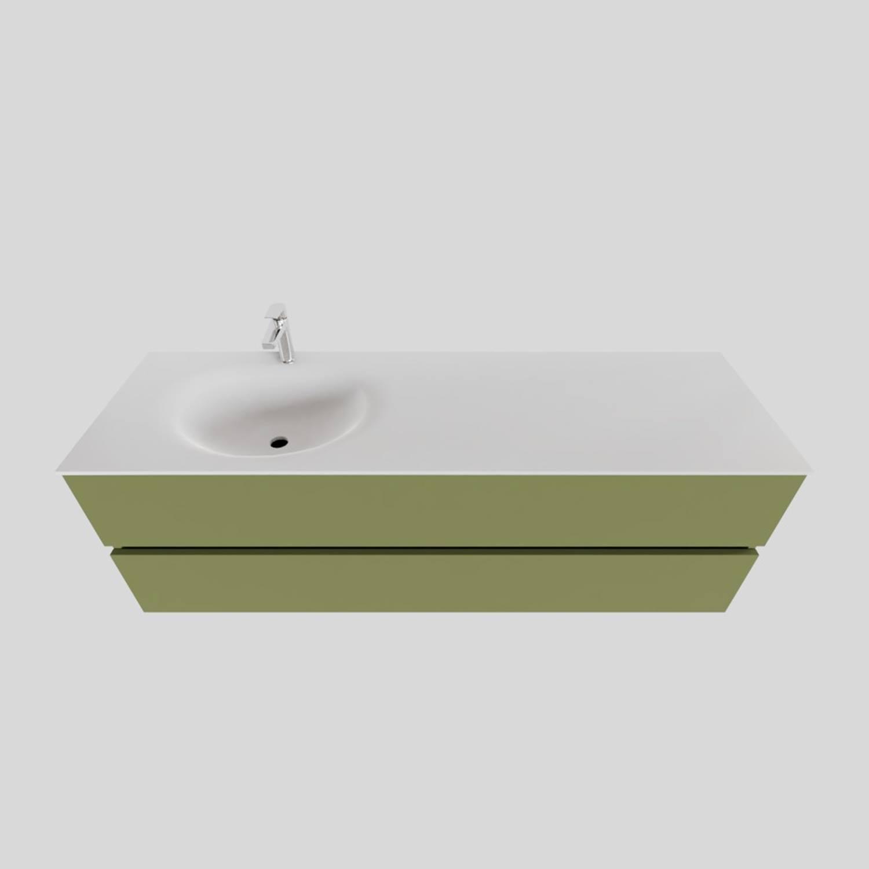 Wastafelmeubels van Boss & Wessing kopen? Badkamermeubel Solid Surface BWS Stockholm 150x46 cm Links Mat Groen (met 1 kraangat) voor de Badkamermeubels met korting