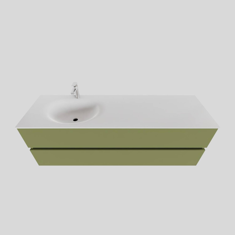 Badkamermeubel Solid Surface BWS Stockholm 150x46 cm Links Mat Groen (met 1 kraangat)