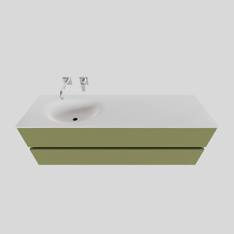 Badkamermeubel Solid Surface BWS Stockholm 150x46 cm Links Mat Groen (zonder kraangat) voordeel