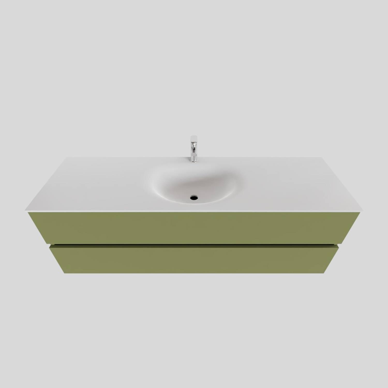 Badkamermeubel Solid Surface BWS Stockholm 150x46 cm Midden Mat Groen (met 1 kraangat) voordeel
