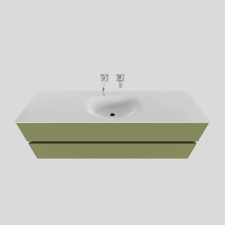 Badkamermeubel Solid Surface BWS Stockholm 150x46 cm Midden Mat Groen (zonder kraangat) voordeel