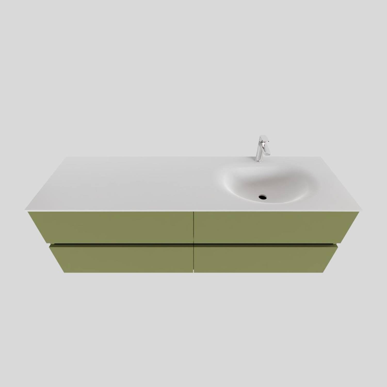 Badkamermeubel Solid Surface BWS Stockholm 150x46 cm Rechts Mat Groen 4 Laden (met 1 kraangat) kopen met korting doe je hier