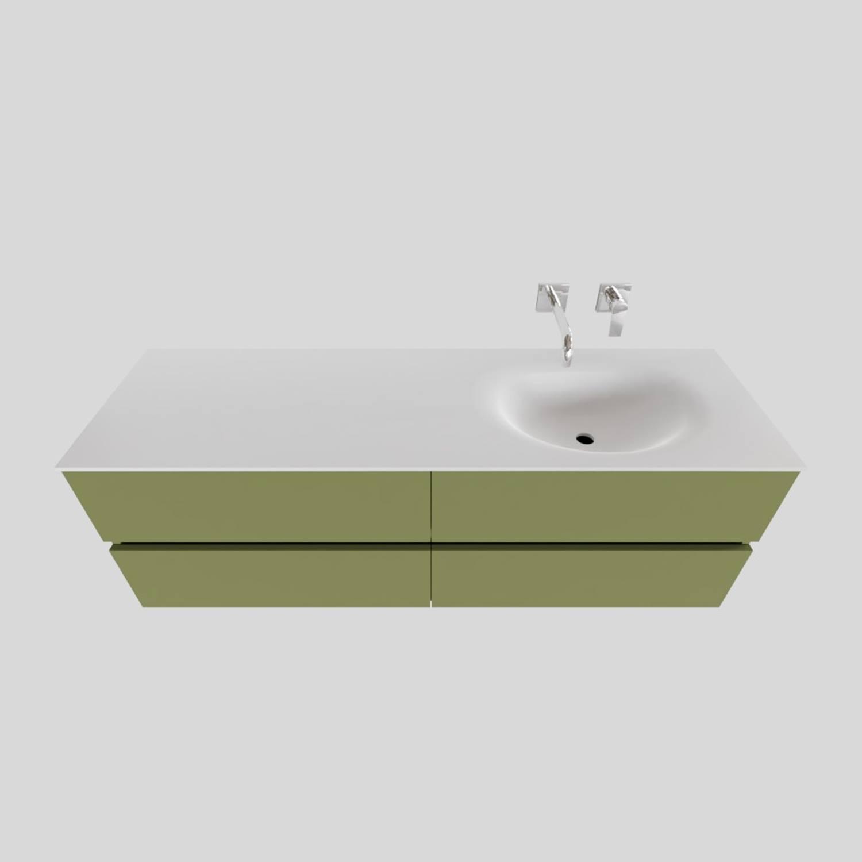 Badkamermeubel Solid Surface BWS Stockholm 150x46 cm Rechts Mat Groen 4 Laden (zonder kraangaten)