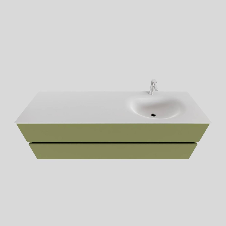 Badkamermeubel Solid Surface BWS Stockholm 150x46 cm Rechts Mat Groen (met 1 kraangat) voordeel