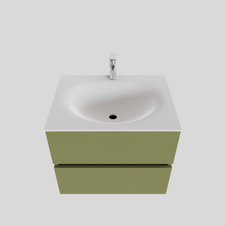 Badkamermeubel Solid Surface BWS Stockholm 60x46 cm Mat Groen (met 1 kraangat)
