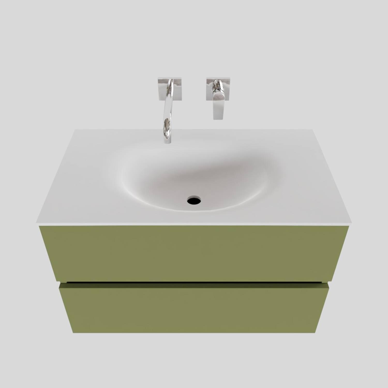 Badkamermeubel Solid Surface BWS Stockholm 80x46 cm Mat Groen (zonder kraangat)