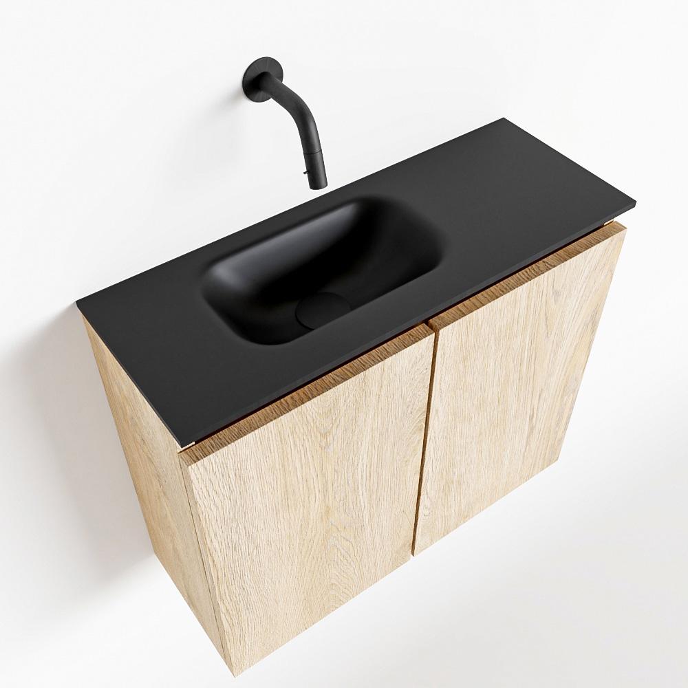 Productafbeelding van MONDIAZ TURE 60cm toiletmeubel washed oak. EDEN wastafel urban links geen kraangat