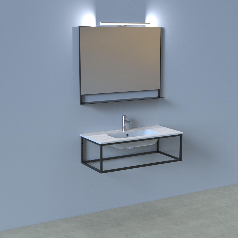 Badkamermeubelset Industrieel BWS Frame Hangend 100 Mat Zwart Aluminium (inclusief spiegel en verlic