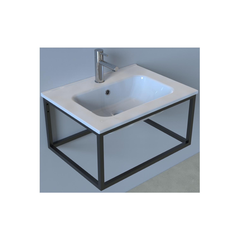 Badkamermeubelset Industrieel BWS Frame Hangend 60 Mat Zwart Aluminium (exclusief spiegel)