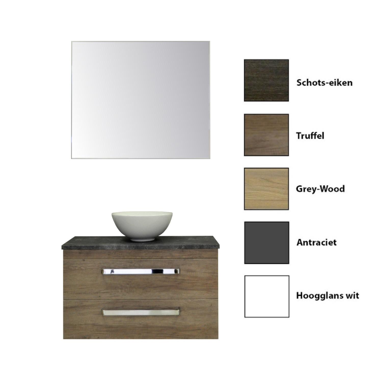 Badkamermeubelset Sanicare Q11 2 Laden Inclusief Wastafelblad Grey- of Black-Stone 100cm (alle kleuren, spiegel optioneel)