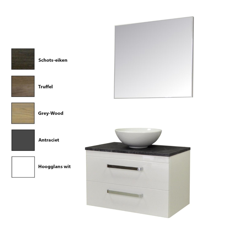 Badkamermeubelset Sanicare Q11 2 Laden Inclusief Wastafelblad Grey- of Black-Stone 80cm (alle kleuren, spiegel optioneel) kopen