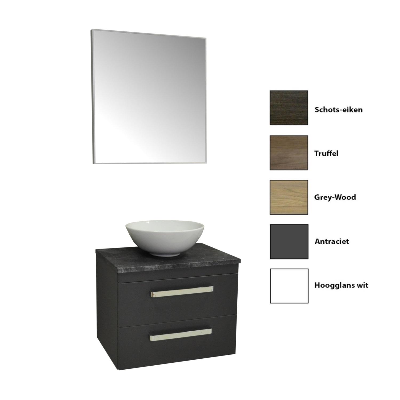 Badkamermeubelset Sanicare Q11 2 Laden Inclusief Wastafelblad Grey- of Black-Stone 65cm (alle kleuren, spiegel optioneel) kopen