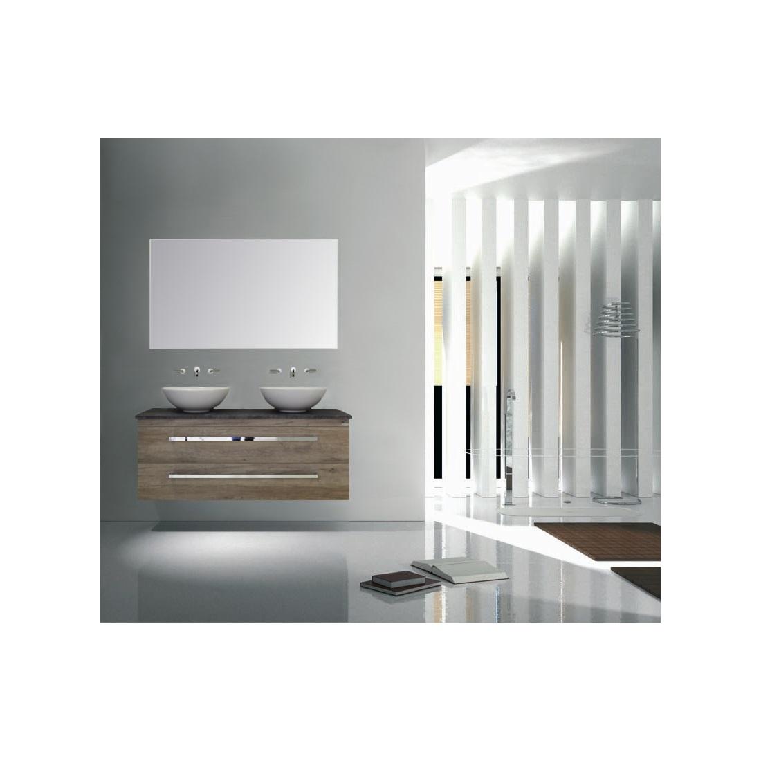 Badkamermeubelset Sanicare Q12 2 Laden Schots-Eiken (spiegel optioneel)