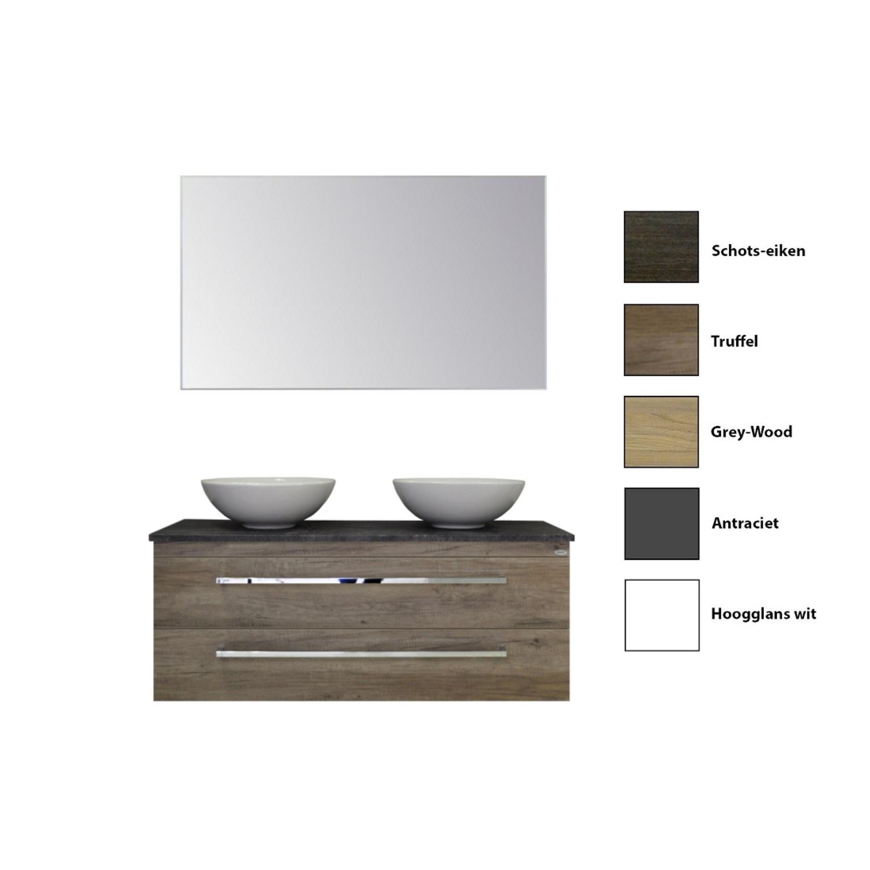 Badkamermeubelset Sanicare Q12 2 Laden en Black- of Grey-Stone Wastafelblad (alle kleuren, spiegel optioneel) kopen