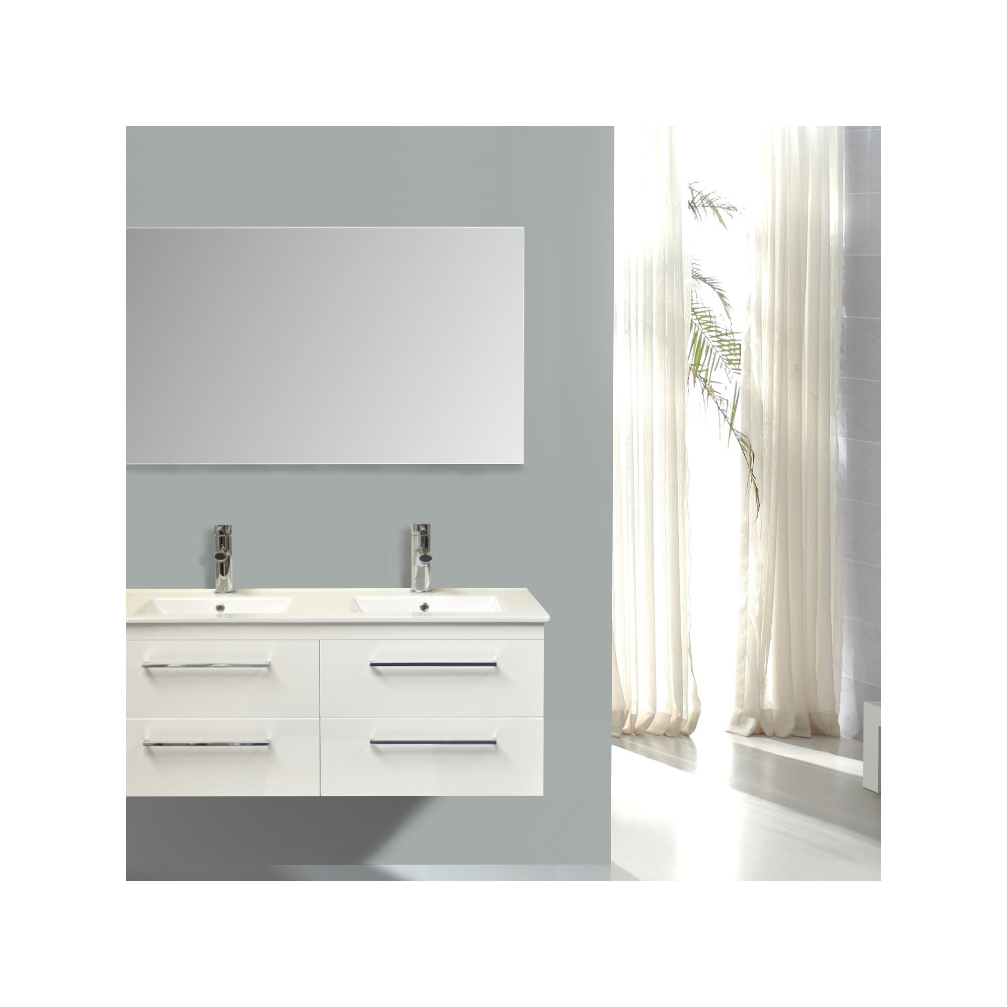 Badkamermeubelset Sanicare Q14 4 Laden Hoogglans Wit (spiegel optioneel)