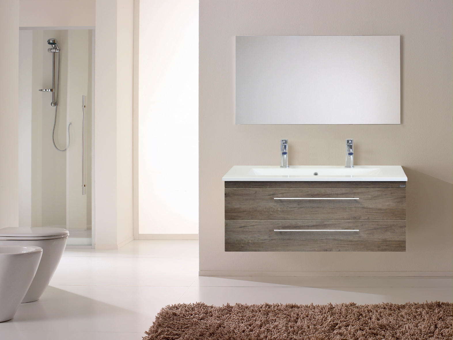 Badkamermeubelset Sanicare Q15 2 Laden Truffel (spiegel optioneel)