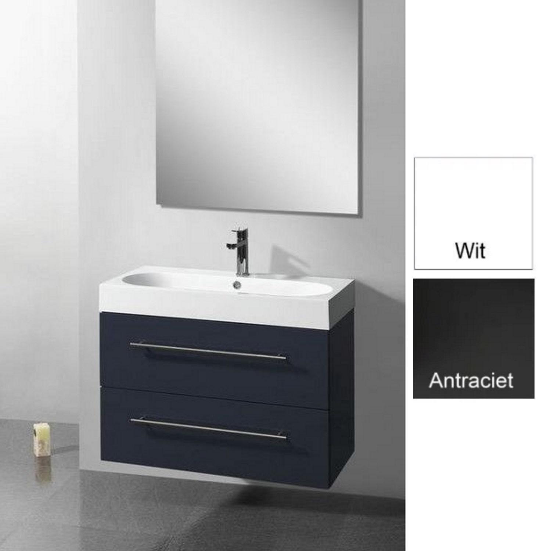 Badkamermeubels Wastafelonderkast kopen? Badkamermeubelset Sanilux Compactline 80x38x50 cm (in twee kleuren leverbaar) met korting