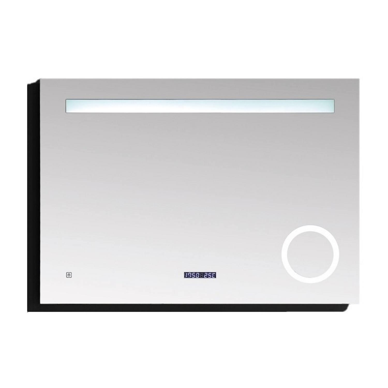 Badkamerspiegel Best Design Linet LED Verlichting 80×70 cm met Klok en Vergroting Best design Gratis bezorgd