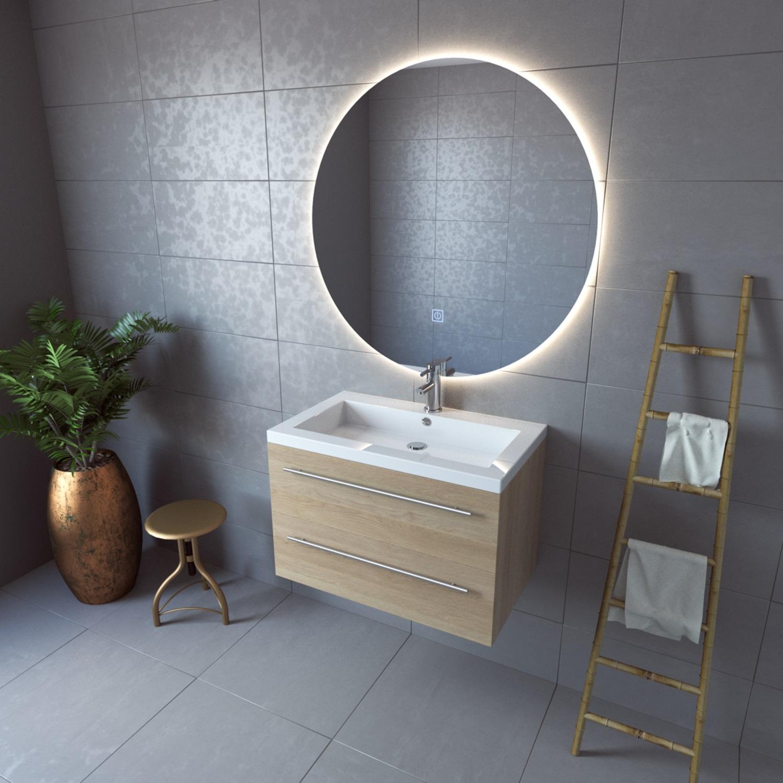 Badkamerspiegel boss wessing rond 100 cm led verlichting for Verlichting badkamerspiegel