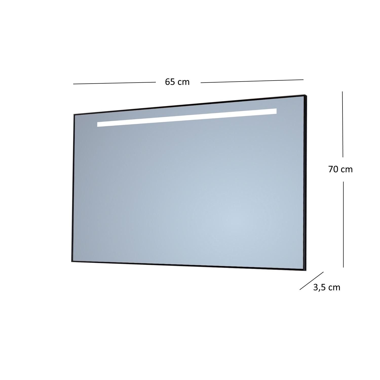 Badkamerspiegel Sanicare Q-Mirrors 'Cool White' LED-Verlichting 70x65x3,5 cm Alu Omlijsting