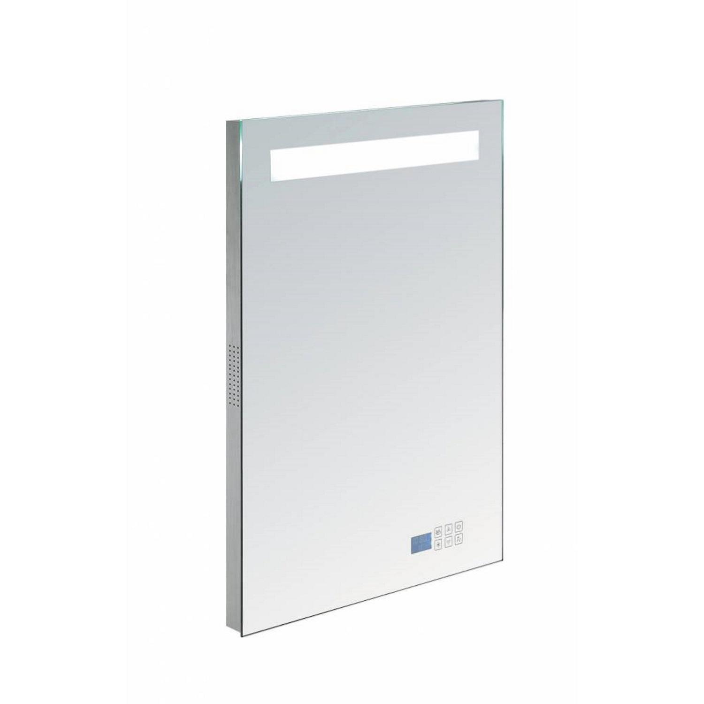 Badkamerspiegel met Radio Sanilux 58x80x4,5 cm TL-Verlichting Spiegelverwarming