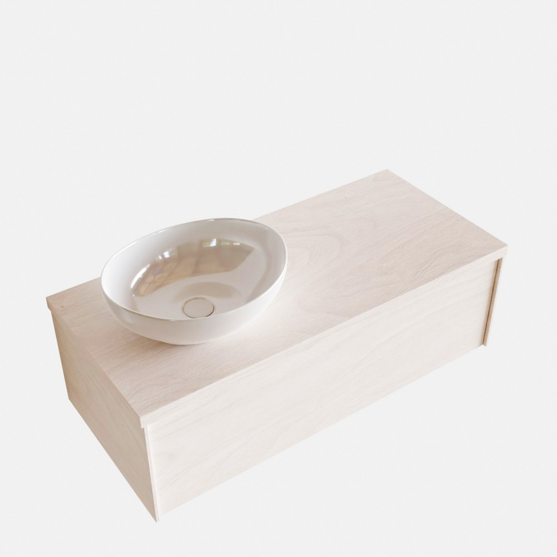 Badkamermeubels 86488 Badkamermeubel BWS Madrid Wit 100 cm met Massief Topblad en Keramische Waskom Links (0 kraangaten)