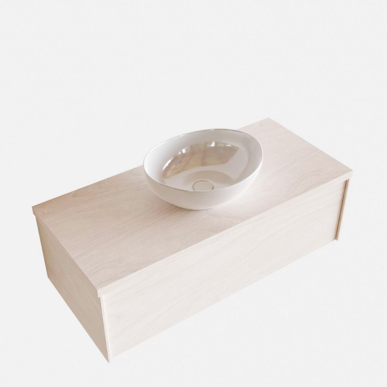 Badkamermeubels 86487 Badkamermeubel BWS Madrid Wit 100 cm met Massief Topblad en Keramische Waskom (0 kraangaten)