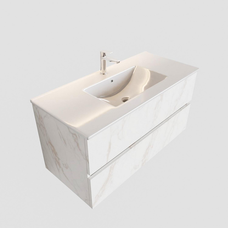 Badkamermeubel BWS Madrid Carrara Mat 100 cm Keramische Wastafel (1 kraangat, 2 lades)